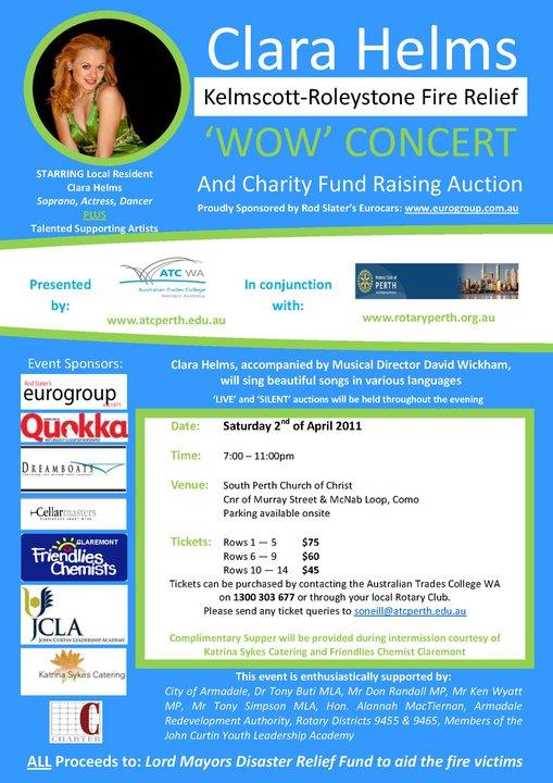 Clara Helms' Bushifire Benefit Concert on 20110402